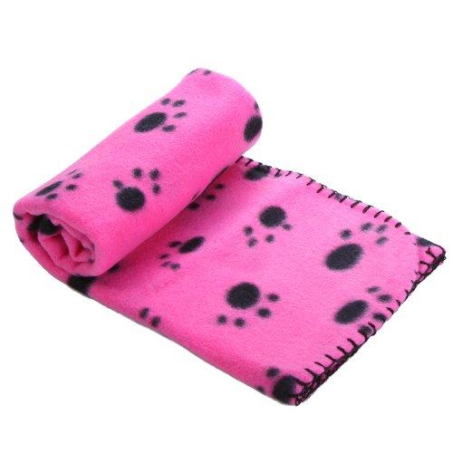 Anself Manta Forro Polar para Perro Paw Print Perro Gato Pet Mascota M