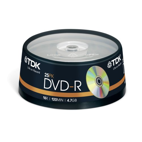 TDK DVD Rohling DVD-R T19416 4,7GB 16x Single Layer (25er Cakebox)