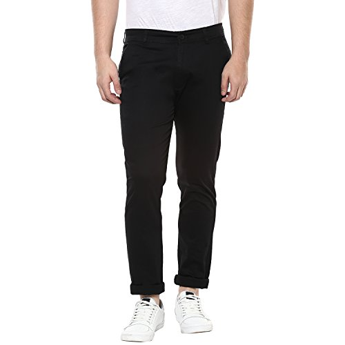 Routeen Black 100% Cotton Lycra Casual Slim Fit stretchable Chinos Trousers pants for Men