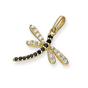 9K Gold & CZ Kristall Libelle Charm Anhänger