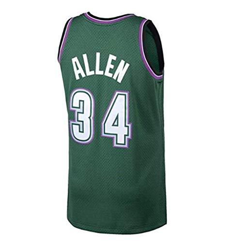 CCKWX Herren Basketball Trikots - NBA 34# Ray Allen Heat Team Atmungsaktives Gewebe Swingman Edition Mesh Jersey Sport Weste Top Ärmellos (Grün),XL:185cm/85~95kg Ray Allen Teams