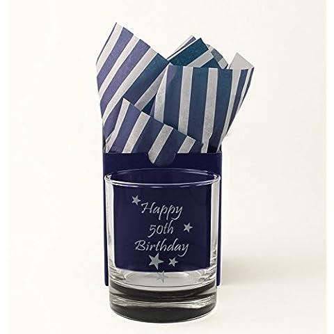 50Fifty compleanno, Whisky, Bicchiere di vetro inciso, presentato in una scatola regalo con tessuto come (Gift Box Galleria)