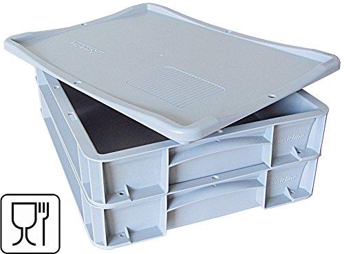 2x Pizzaballenbox + 1x Auflagedeckel, Pizzaballenbehälter, Pizzateigbehälter 400 X 300 X 70mm