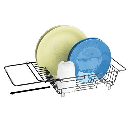 mDesign Rejilla escurreplatos para el fregadero – Escurridor de platos, vasos y tazas – Secaplatos de metal extensible y compacto – negro mate