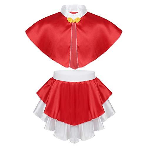 dPois Mädchen Weihnachtsmann Nikolaus Kostüm Cape mit Asymmetrischem Minirock Weihnachten Verkleidung Cosplay Outfit Fasching Performance Rot - Santa Claus Tanz Kostüm
