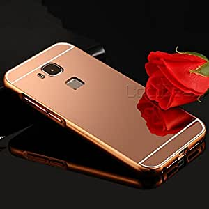 CLASSY Luxury Metal Bumper + Acrylic Mirror Back Cover Case For Huawei Honor 5X ROSE GOLD, Metal bumper cover/Mirror cover
