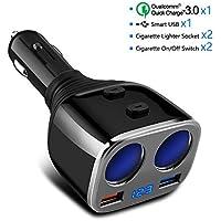 Cargador de Coche QC 3.0+5V/2.4A Puerto USB, Rocketek 80W Adaptador