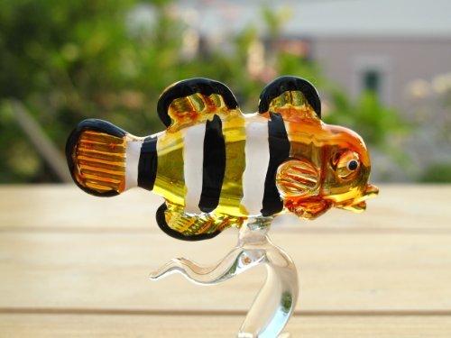 Handmade Gelb Clownfisch Fisch Art Glas geblasen Sea Tier Figur Nr. 3-Modell 2018 -