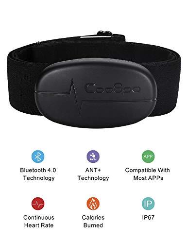 CooSpo Banda de Frecuencia Cardiaca Bluetooth 4.0 Ant + Monitor Sensor de Frecuencia Cardíaca Compatible con Garmin Wahoo Zwift Endomodo y Otros