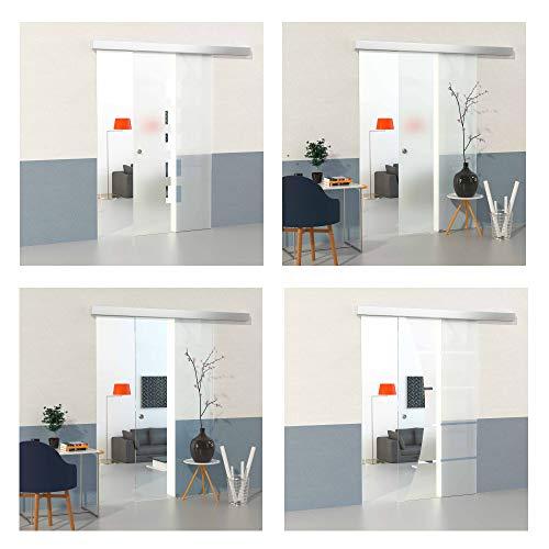 DURADOOR Glasschiebetür Set aus Sicherheitsglas im 5-Streifendesign 2050 mm x 1050 mm x 8 mm Schiebetür Glastür Beschlag