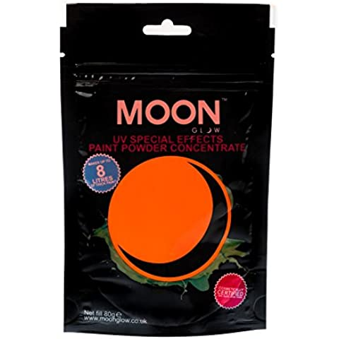 Moon Glow - 80 g de pintura en polvo UV Conjunto Naranja - Concentrado de pintura en polvo para efectos especiales de neón para fiestas - Para hacer hasta 8