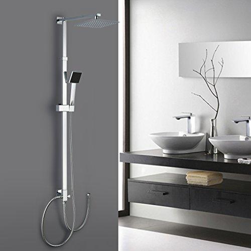 Auralum® Sistema de ducha cuadrado ecológico con ducha de mano y acero inoxidable Juego de ducha de spray superior Se puede conectar con grifo de bañera Ducha de cascada de cromo de acero inoxidable C
