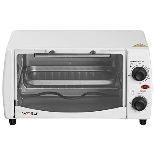 WOLTU BF08ws Mini Backofen 12 Liter Pizzaofen Glastür mit Backblech mit Timer 0-250°C 800 Watt Weiß