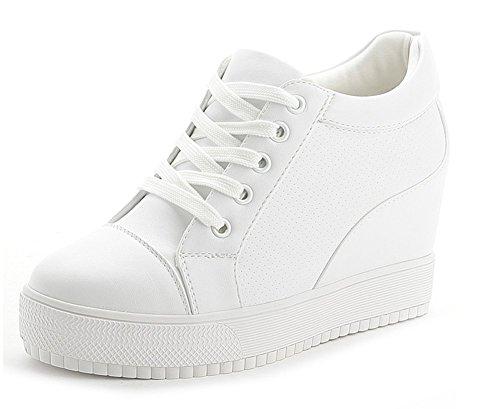 Sneaker Damen Wealsex Turnschuhe Wei Sportschuhe Wedges Schuhe Keilabsatz Freizeit Leder Plattform Rund Pu q6wg5f