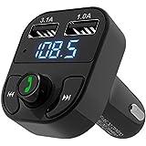 Transmisor FM Bluetooth, FM Radio Adaptador MP3 Player para Coche Manos Libres Kit con Doble Puerto para iPhone 6 6 Plus 5S 5C Samsung Galaxy S6 S6 Edge S5 S4 y otros audio dispositivos