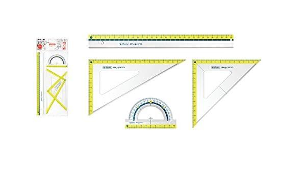 Lineal Winkelmesser Farbe 2x Geo-Dreieck Herlitz Geometrie-Set 4tlg lemon