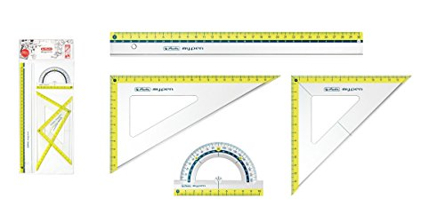 Herlitz Geometrie-Set 4tlg / 2x Geo-Dreieck, Lineal, Winkelmesser / Farbe: lemon