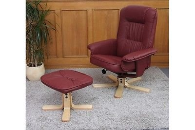 Sessel Relaxsessel mit Hocker Fußstütze bordeaux Kunstleder Funktionsessel