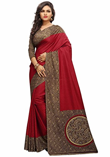 Miraan Saree with Blouse Piece (MT1414_Red_Free Size)