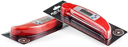 AVAX (TM) DT-X - Folding digitale da cucina con display LCD - termosonda per vino, alimenti, carne, bistecche, latte e zucchero, ecc., intervallo di temperatura: da -50°C a 300°C - Colore: ROSSO