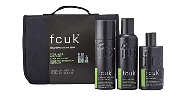 a932186c73e Fcuk Washbag & Body Trio Christmas Gift Set Fcuk Style Hair & Bodywash,  Bodyspray And Anti-Perspirant Deodorant For Men With Wash Toiletry Bag Stay  Fresh ...