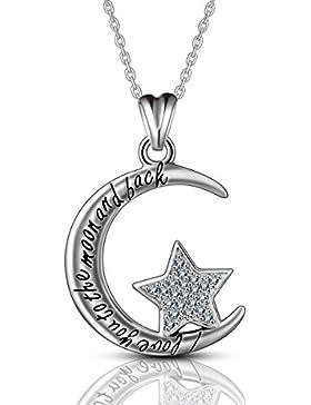 Weihnachten Geschenk Silber Halsketten für Frauen, 925Sterling Silber CZ Anhänger, aeonslove Schmuck