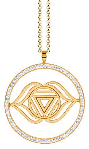 Nenalina Damenhalskette mit Stirn – Ajna Chakra Anhänger in 925 Sterling Silber vergoldet vergoldet mit Swarovski…