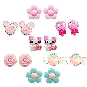7 Paar Klipp Ohrringe fur kleine Mädchen Kids Clip auf Ohrringe Set für Geburtstag Geschenke Princess Party Play Schmuck Set