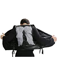 Herren Daryl Weste Schwarz PU Leder Waistcoat mit Flügel Ärmellos Jacke Top Kleidung für Erwachsenes Cosplay Kostüm