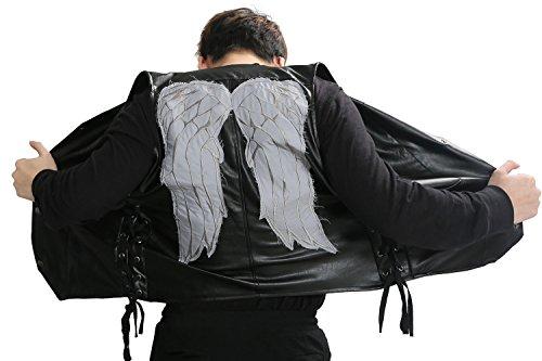 PU Leder Weste Engels Flügel Ärmellose Jacke Top Kleidung für Herren Verrücktes Kleid Cosplay Kostüm (L) ()