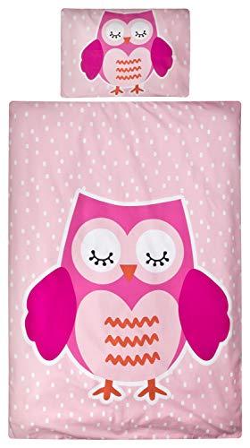 Aminata Kids Kinder-Bettwäsche 100-x-135 cm Eule-n Vögel Wald-Tier-e Baby-Bettwäsche 100-% Baumwolle Renforce pink hell-rosa Mädchen (Baby-vogel-bettwäsche)