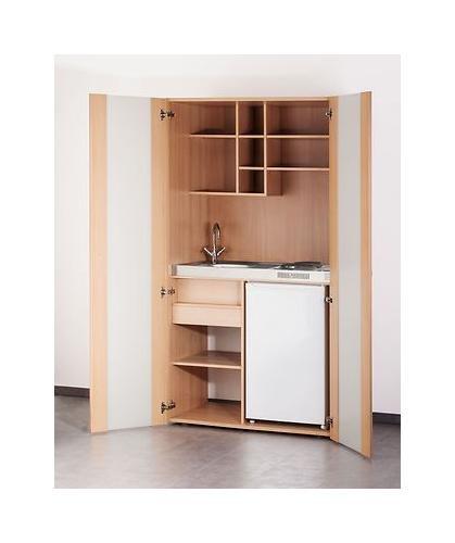 MEBASA MK0009S Büro-Küche Schrankküche Buche 100 cm mit Unterbaukühlschrank und Cerankochfeld