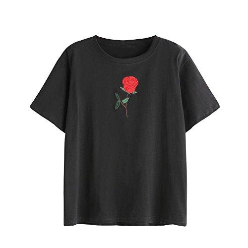 Maglietta di estate delle donne di modo Vovotrad Manicotto corto della  camicetta del ricamo(S, Nero)