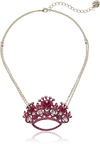 Betsey Johnson Roses Pink Crown Pendant Necklace - Betsey Johnson Rose