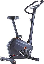 PowerMax Fitness Unisex Adult BU-600 Magnetic Upright Bike For Home Use - Orange/Grey, Compact