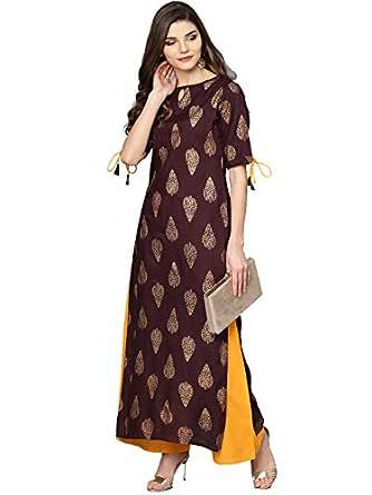 Meera Fab Women's Rayon Printed Kurti with Palazzo (Maroon)