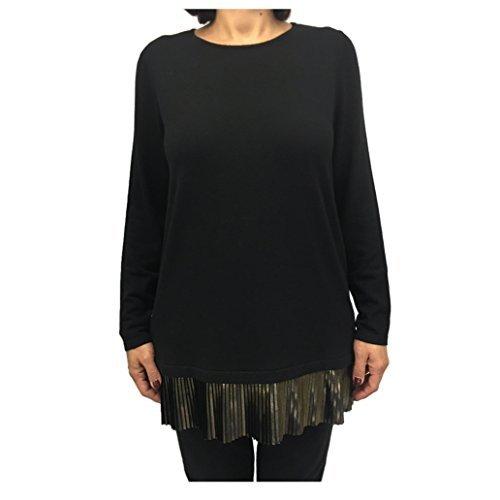 Persona von Marina Rinaldi schwarzes Jersey mit Einlagen Laminat Bronze mod Album - Schwarz, M - IT 48/50 - Laminat-einlage