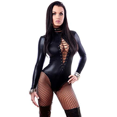 (Halloween Kostüme für Frauen Sexy Leder Bodysuit mit Netzstrümpfen Pole Dancing Girl (größe : XL))