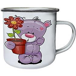 Lindo bebé oso con flor Retro, lata, taza del esmalte 10oz/280ml y908e