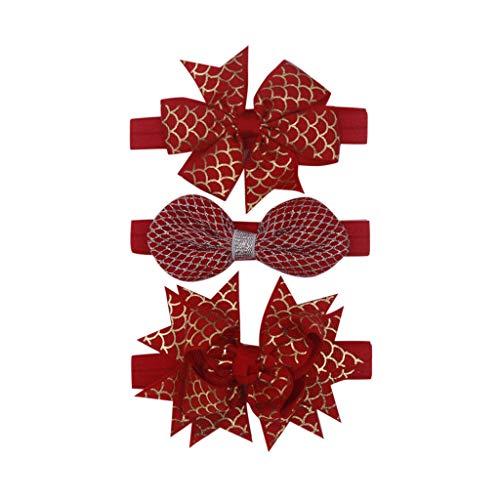 Yazidan Dreiteiliger Anzug Fischschuppen Schmetterling Knitting Stirnband Headwear Baby Haarschmuck Kopfschmuck Stirnband Mehrfarbig und blumenreich elastisch Haarband Fliege Schleife (Lilly Pulitzer Haar)