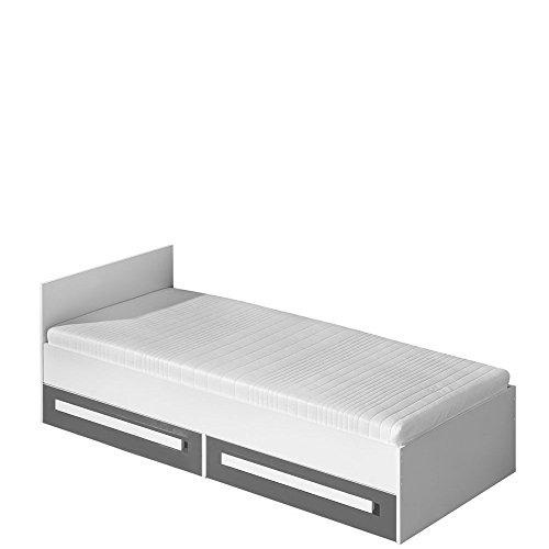 Bett GULIVER, Schubladenbett, Bett mit matratze 90 x 200 cm Kinderzimmer Jugendzimmer Moebel (weiß / grau hochglanz)