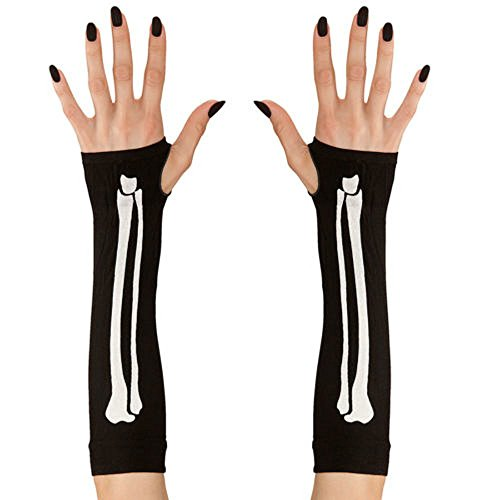 ett Handschuhe Fingerlos Fashing Handschuhe Schwarz Lang (Macht Ein Skelett Halloween Kostüm)