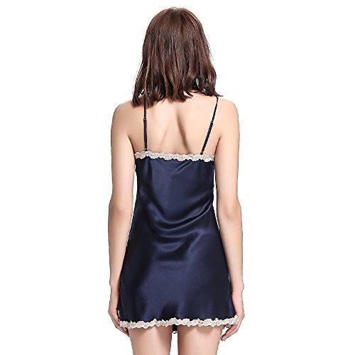 Lilysilk Charment Seide Nachthemd Nachtkleid Damen mit Spitzen 22 Momme Dunkel Blau S -