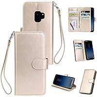 BONROY® Schlichte Einfarbige Hülle für Samsung Galaxy S9 Brieftasche in Lederoptik, Schale mit Karteneinschub, Etui, Buchstil Geldbörse - (HS-Vollton 9 Karten Gold)