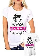 Idea Regalo - Puzzletee Coppia T-Shirt Madre Figlia Festa della Mamma La miglior Mamma/Figlia al Mondo - t Shirt Mamma Figlia - Idea Regalo
