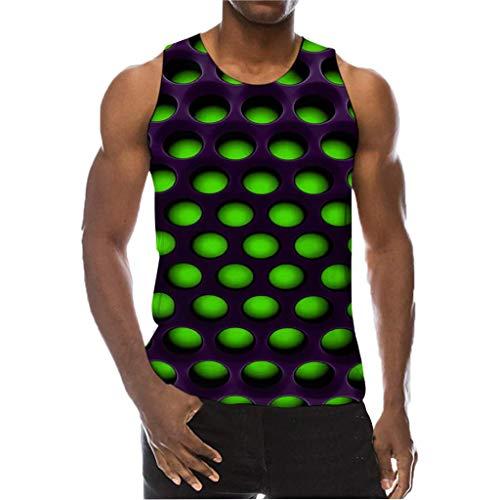 Herren Druck T-Shirt 3D-Trend Unisex T-Shirt Wabe Persönlichkeit gedruckt Kurzarm Beiläufige Rundhalsausschnitt Lässige Graphics Tees Spaß Motiv Tops (XL, Grün-)