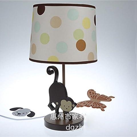 JUJUN E27 Niños lámpara de mesa Moderno estilo creativo para el dormitorio de los niños Salón Decoración de cabecera Decoración de madera de tela Monkey lámpara de