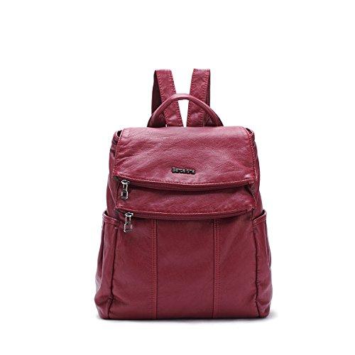 21KBARCELONA Cuoio lavato di alta qualità zaino borsa K15311 (Rosso)