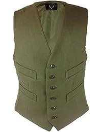 Milano Men Double Breast Tweed With Moleskin Collar Waistcoat Notched Lapel