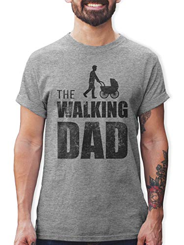 Shirtracer The Walking Dad Herren T-Shirt und Männer Tshirt (M, Grau Meliert)